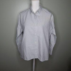 everlane women stripe long sleeve sz 2 white grey
